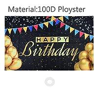 バナー 幸せな誕生日の背景バナーゴールドの風船のサインベビーシャワーの看板30/40/50/60歳の誕生日パーティーの装飾写真の背景 (Color : CG328B02-1PCS)