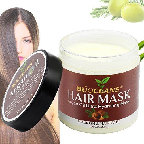 Argan Oil Hair Mask,100% ORGANIC Argan & Almond Oils, Jojoba, Aloe Vera and Keratin, Deep Conditioner Hair Treatment mask Therapy,Damaged or Color Treated Hair after Shampoo for All Hair Types,6.8 Oz