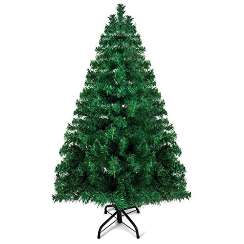 Prextex 4 Feet Premium Hinged Artificial Canadian Fir Christmas Tree Lightweight and Easy to Assemble with Christmas Tree Metal Stand 320 Tips