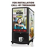 Cafe Desire Coffee & Tea Vending Machine (4 Lane)(includes 1 Kg Coffee & Tea Premix)