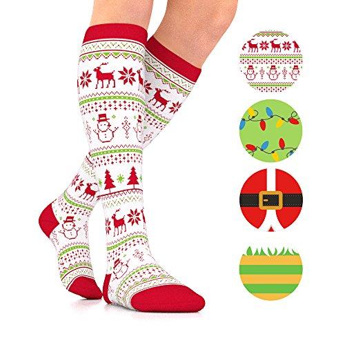 Go2Socks Holiday Christmas Compression Socks Women Men Nurses Runners 15-20 mmHg Stockings(Christmas Sweater, Large)