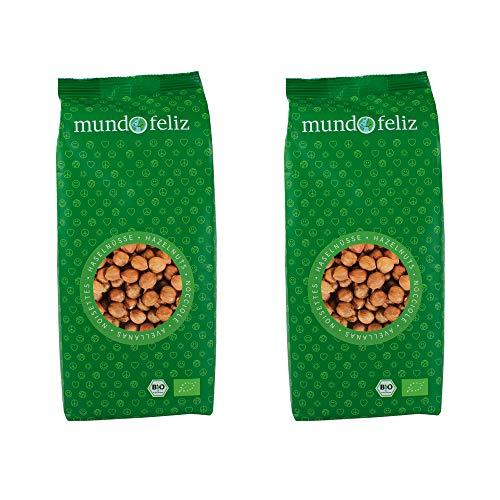 Mundo Feliz - Lot de 2sachets de noisettes bio non grillées, 2x500g