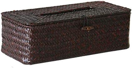 Tissue Box CDZXMM Straw Tissue Box Hand-Woven Rattan Napkin Holder Carton Car Living Room Storage Box Home Decoration 27×12×8.5cm Coffee-L