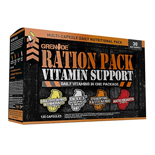 Grenade Ration Pack - Multi Capsule Complete Daily Vitamin Package -30 Days Supply (120 Capsules)