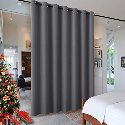 RYB HOME Room Dividers Curtains Blackout Thermal Insulating Privacy Noise Reduce Drapes for Living Room Dining Shared Office Apartment Garage RV Door Doorway, Grey, 1 Pc, W 12.5ft x L 9ft