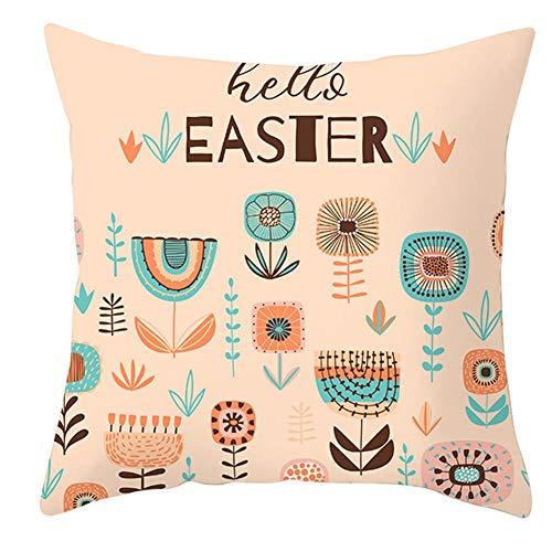Noete Funda de cojín Decorativa de Pascua con Dibujos Animados de Conejo Estampado de Huevo Piel de melocotón Terciopelo cojín Lumbar Accesorio para el hogar para el sofá el Coche 45*45cm