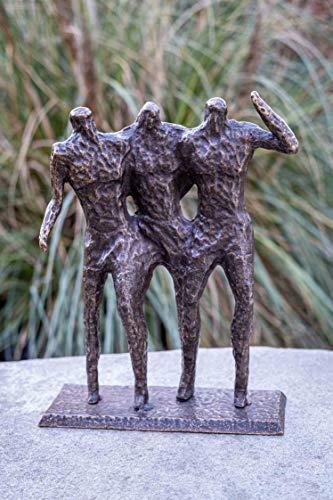 IDYL Escultura de bronce moderna de tres hombres   36 x 10 x 28 cm   Figura de bronce hecha a mano   Escultura de jardín – Decoración de salón   Artesanía de alta calidad   Resistente a la intemperie