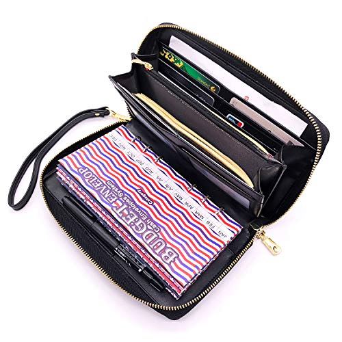 All-in-One Cash Envelopes Wallet Finances Organizer with 12 Budget Envelopes & Budget Sheets, PU Leather Wallet with Zip Phone Pocket Clutch Large Travel Purse Wristlet Hand Strap Maker Pen