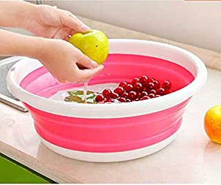 Chen ZhiShan 折りたたみ洗面器 アウトドアたらい 洗い桶 ポータブル 洗濯たらい 超軽量 375mm(ピンク)