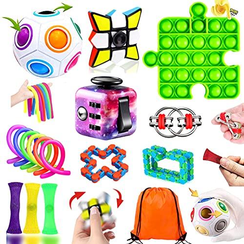 Paochocky Juego de Juguetes Sensoriales Antiestres 17PCS Fingers Sensory Toys con Pop-it Sensory Toy para Niños Adultos Aliviar El Estrés para Autismo TDAH y TOC en Oficinas Hogares Aulas con Bolsa