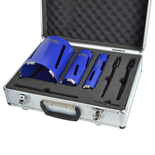 Faithfull FAIDCKIT7 7 Piece Diamond Core Drill Kit in Case. Includes: 38, 52 & 117mm Cores