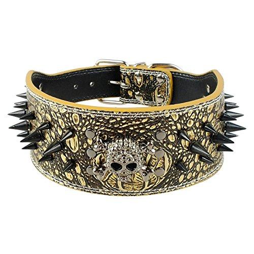 "Beirui 3 inch Width Bronze Sharp Spiked Studded Leather Dog Collar Training,Sports,Walking,Travel,Dog Show,Heavy Duty,Medium Dogs Pitbull,Labrador,Boxer,Neck 17-20"""