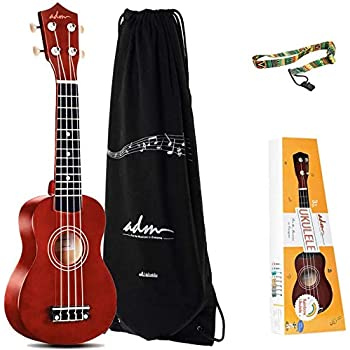 ADM Soprano Ukulele Beginner Ukulele Kit with Gig Bag, Kids Ukelele Package, Brown