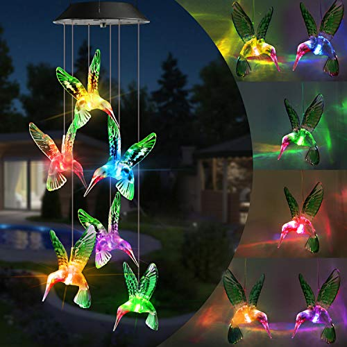 Toodour Solar String Lights, Color Changing Solar Hummingbird Wind Chimes, LED Decorative Mobile, Gifts for Mother's Day, Waterproof Outdoor String Lights for Garden, Patio, Party, Yard, Window