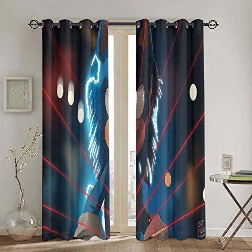 Cortinas aisladas Sonic the Erizo Cortinas para la sala de estar de los niños decoración de los niños cortinas estampadas 42 x 63 pulgadas