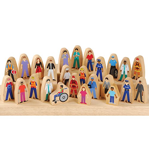 Constructive Playthings SNG-400 Wooden Community Helpers, Set of 25 Pieces for Block Play