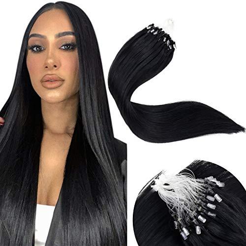 LaaVoo 22inch Micro Loop Hair Extensions 100% Human Hair Silicone Micro Beads Stick Tip Hair Extensions Micro Link Jet Black Keratin Beads Straight 1g/s 50g/pack in Total #1