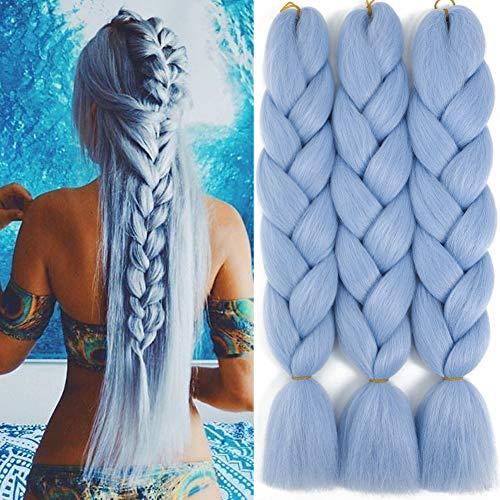 Jumbo Braids Hair Extensions Colored Braid Hair Synthetic Hair for Black Women Box Braiding Hair for Twist (24 Inch 3Pcs/Lot, Light Blue)