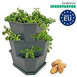 Paul Potato Starter Kartoffelturm - stapelbar - Hochbeet/Pflanzgefäß/Blumentopf für Balkon, Garten und Terrasse (3 Etagen anthrazit/grau) inkl. Untersetzer