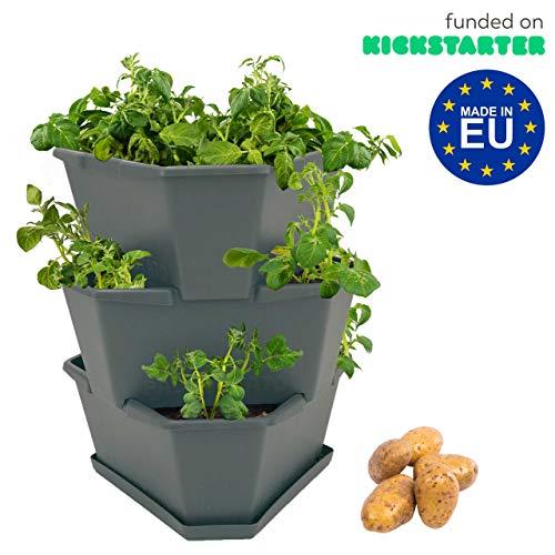 GUSTA GARDEN Paul Potato Starter Kartoffelturm - stapelbar - Hochbeet/Pflanzgefäß/Blumentopf für Balkon, Garten und Terrasse (3 Etagen anthrazit/grau) inkl. Untersetzer