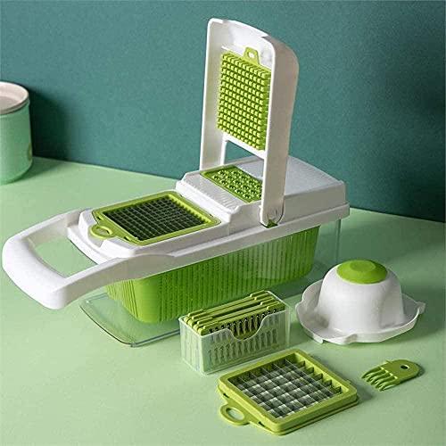Cortador de verduras ajustable cortador de verduras con rallador de juliana incluye cepillo limpio y protector de mano