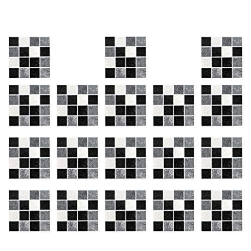 VOSAREA 18 Pegatinas de Pared para Azulejos de Mosaico Descascarillamiento de Azulejos Calcomanías Extraíbles Impermeables a Prueba de Aceite para Baño Y Cocina 10X10x0. 05 Cm