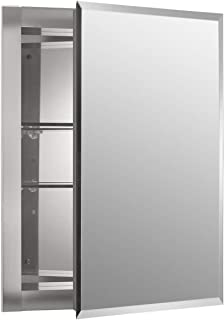 Kohler K-CB-CLR1620FS Frameless 16 inch x 20 inch Aluminum Bathroom Medicine Cabinet; Recess Installation Only (Pack of 2)