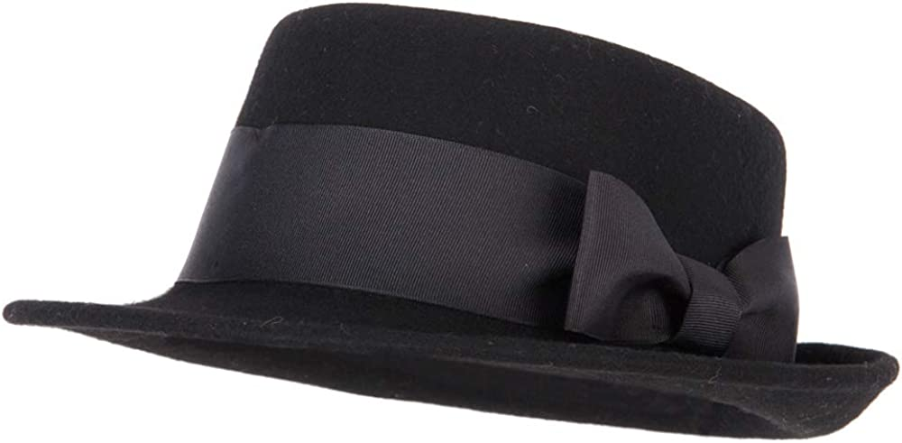 Women's Extra Wide Grosgrain Ribbon Band Trim Wool Pork Pie Fedora Hat