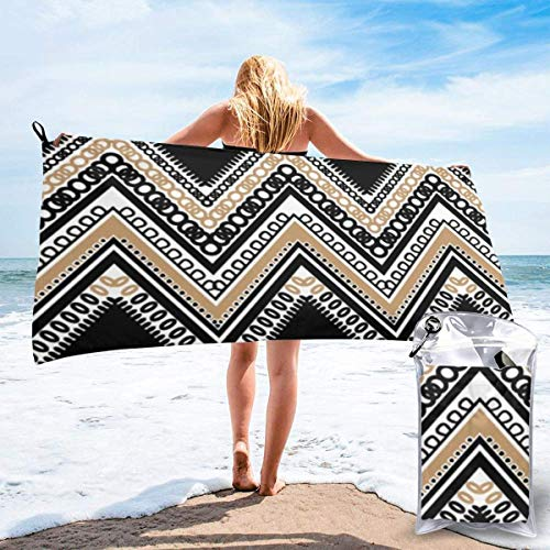Beach Towels Toalla ligera de secado rápido en zigzag, blanco y negro, súper absorbente, sin arena, para viajes, natación, gimnasio, yoga 140X70CM