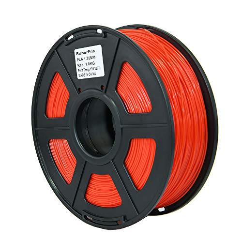Superfila PLA 3D Printer Filament, Dimensional Accuracy +/- 0.03 mm, 1 kg Spool, 1.75 mm, Fit for Most FDM 3D Printer and 3D Pen,Red