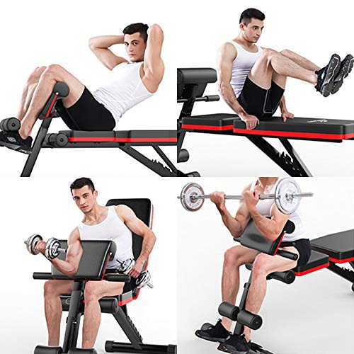 Weight Bench,Multi-Purpose Foldable Incline Decline,7 Position Adjustable Workout Bench W/ Adjustable Back Pillow,Pull Rope for Full Body Workout Strength Fitness Training Exercise,MAX 600 lb (A)