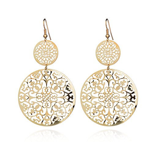 Women's jewery fashion Frosted Earrings for Wedding Party 2 Colors (Sliver) (Sacred Geometry(Gold))