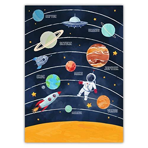 Pandawal Kinderzimmer Bilder für Junge und Mädchen Sonnensystem Poster Weltraum Deko (Dunkel) Planeten Raketen Ufo Astronaut 50 x 70 cm (M2)