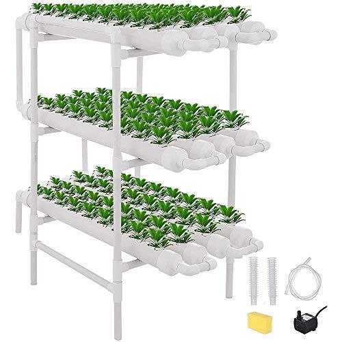 ZHENN Kit de Culture hydroponique pour légumes, Culture de Flux Profonds Balcon Système Jardinage Outil Culture légumes 4 Couches 36 Sites Blanc,96x50x105cm/37.8x19.6x41.3in
