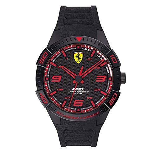 Ferrari Quartz Watch with Silicone Strap, Black, 20 (Model: 0870038)