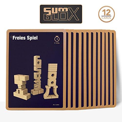 SumBlox Lernspielkarten Montessori Spielzeug - Beim Spielen Mathematik, Zahlen, 1x1 (Einmaleins) und Rechnen Lernen, 12 Übungskarten mit Lernspielen