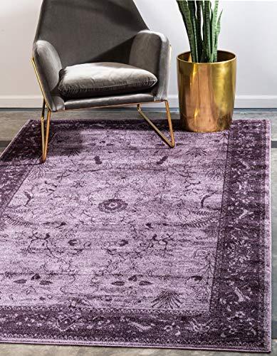 Unique Loom La Jolla Collection Tone-on-Tone Traditional Purple Area Rug (3' x 5')