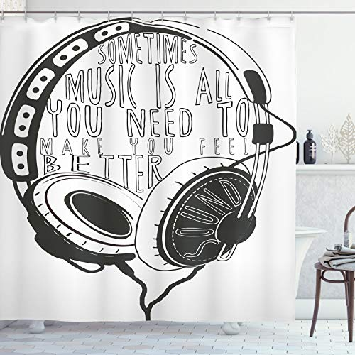 """Ambesonne Music Shower Curtain, Headphones Industrial Design Sketch with Words Audio Sound Stereo Scribble, Cloth Fabric Bathroom Decor Set with Hooks, 70"""" Long, Charcoal Grey"""