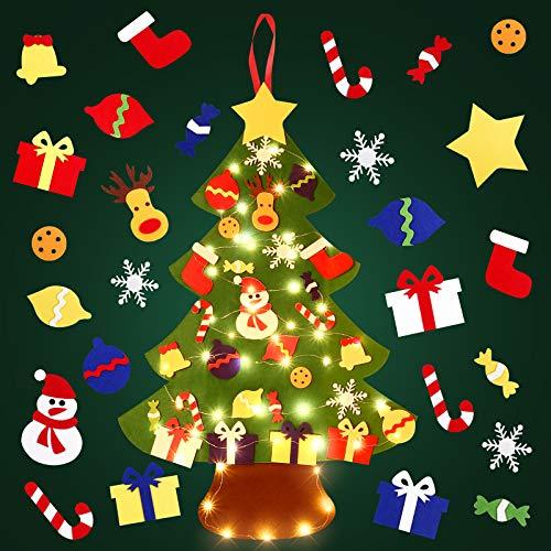 SOLEDI Arbol Navidad Fieltro, 105X73Cm DIY Arbol De Navidad Con 29 Piezas De Adornos Y 5M Luces LED De Cuerda Adornos Navidad