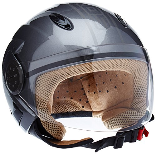 Soxon Jet Helm Sport Roller Motorradhelm Visier ECE, Silber (Urban Grau), XL