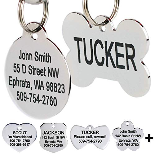 GoTags Stainless Steel Pet ID Tags, Personalized Dog Tags and Cat Tags, up to 8 Lines of Custom Text, Engraved on Both Sides, in Bone, Round, Heart, Bow Tie, Flower, Star and More (Dog Bone, Small)