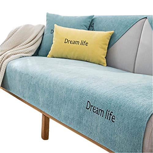 Chenille rutschfeste Sofabezug Universal Sofa Protector überzug Sofa,Couch Schutz,Couch Decken,Schnittsofa-Schonbezug,Green,70x180cm