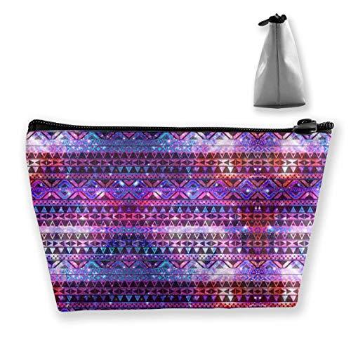 Regalo ideale – Viola, borsa per cosmetici con teschi di zucchero messicano, motivo floreale, trapezoidale, piccola borsa per trucchi, borsa portatile da viaggio con cerniera