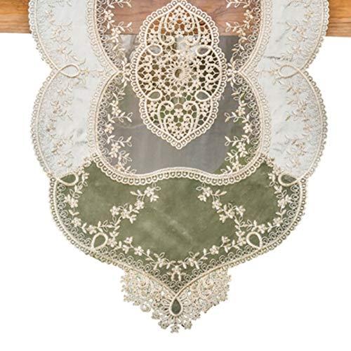 Chemin de Table européen de Dentelle, simplicité éléganter Classique brodé approprié à la Table Basse/Table/Mariage (Couleur : Vert, Taille : 40X180CM)