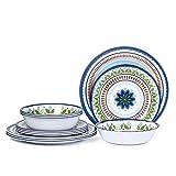 12 Pcs Melamine Dinnerware Set - Rustic Plates and bowls Set for Camping, Service for 4, Dishwasher Safe