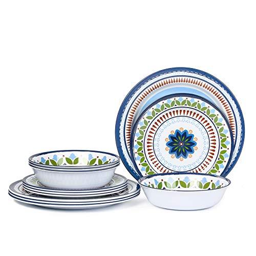12 Pcs Melamine Dinnerware Set -...