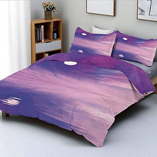 Juego de funda nórdica, Espectáculo surrealista con estrellitas y luna llena reflejada en el mar Juego de cama decorativo de 3 piezas con 2 fundas de almohada, fucsia violeta azul blanco, el mejor reg
