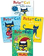 Pete the Cat Paperback Book Set: Includes 4 Books: • I Love My White Shoes • Pete the Cat and His Four Groovy Buttons • Pete the Cat Saves Christmas • Rocking in My School Shoes