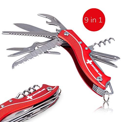 TopSpirit® zakmes Switzerland - zakmes met 9 functies - 9 in 1 multifunctioneel gereedschap - multifunctioneel gereedschap Switzerland 9,5 cm