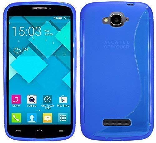 ENERGMiX S-Line TPU SchutzHülle kompatibel mit Alcatel One Touch Pop C7 (7041D) Silikon Hülle in Blau